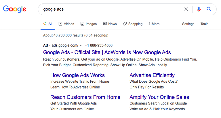 Screenshot of an ad on the Google Search results page